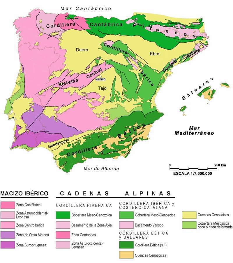 mapa geologico peninsula iberica