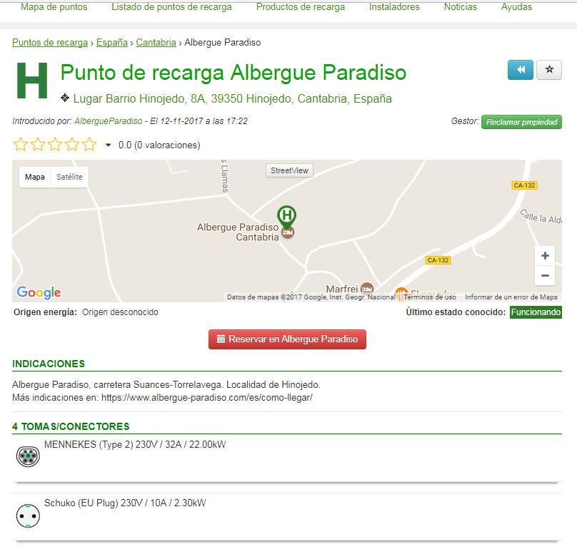 punto de recarga de vehículos electricos en albergue paradiso en cantabria