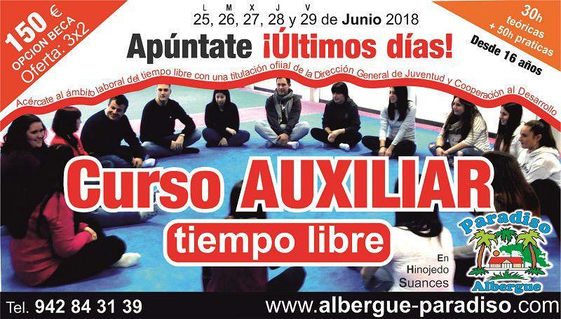 curso auxiliar de tiempo libre en cantabria 2018