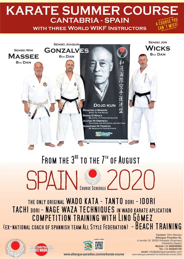 Wado Karate summer course in Spain with top instructors